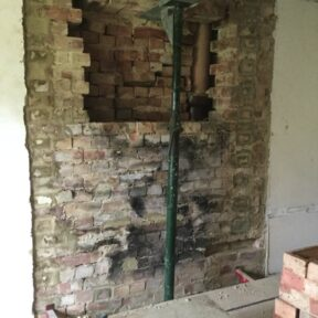 chimney removal in living room