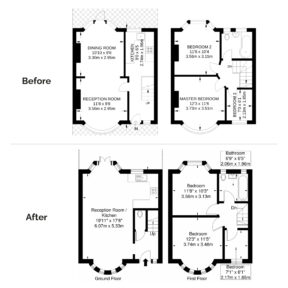 Floorplan before after
