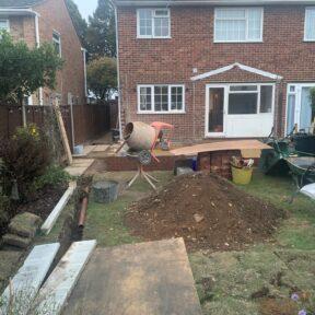 Digging soakaway drainage