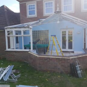 Dismantling the existing conservatory